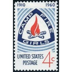 1 عدد تمبر نشان اردوگاه دختران آتش نشان - آمریکا 1960