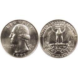 سکه 25 سنت - کوارتر - نیکل مس - تصویر جرج واشنگتن - آمریکا 1991 غیر بانکی
