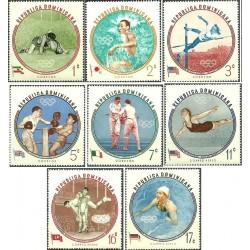 8 عدد تمبر بازیهای المپیک ملبورن - تصویر جهان پهلوان تختی  و پرچم ایران - جمهوری دومنیکن 1960