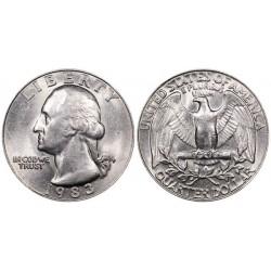 سکه 25 سنت - کوارتر - نیکل مس - تصویر جرج واشنگتن - آمریکا 1983 غیر بانکی