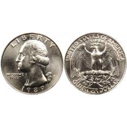 سکه 25 سنت - کوارتر - نیکل مس - تصویر جرج واشنگتن - آمریکا 1989 غیر بانکی