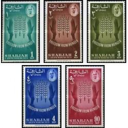 5 عدد تمبر نجات از گرسنگی - شارجه 1963