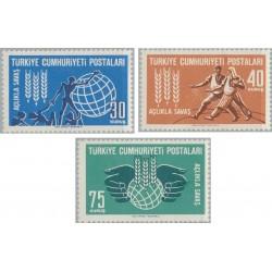 3 عدد تمبر نجات از گرسنگی - ترکیه 1963