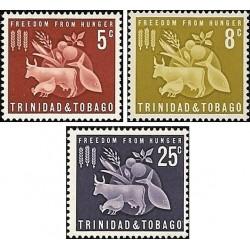 3 عدد تمبر نجات از گرسنگی  - ترینیداد و توباگو 1963