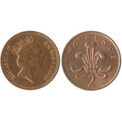 سکه 2 پنس - برنز - انگلیس 1989 غیر بانکی