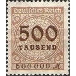1 عدد تمبر سری پستی -سورشارژ  500 هزار مارک - رایش آلمان 1923 با شارنیه