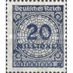 1 عدد تمبر سری پستی -سورشارژ 20 میلیون مارک - رایش آلمان 1923 با شارنیه