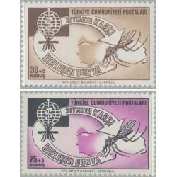 2 عدد تمبر ریشه کنی مالاریا  - ترکیه 1962