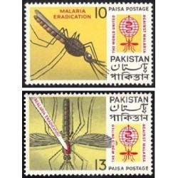 2 عدد تمبر ریشه کنی مالاریا  - پاکستان 1962