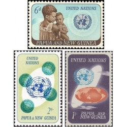 3 عدد تمبر سال همکاری بین المللی - پاپوا گینه نو 1965
