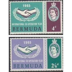 2 عدد تمبر سال همکاری بین المللی - برمودا 1965