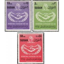 3 عدد تمبر سال همکاری بین المللی - سودان 1965