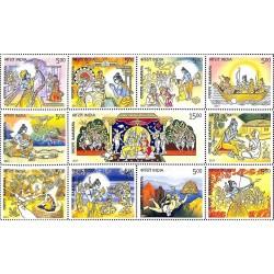 11 عدد تمبر  حماسه رامایانا -  هندوستان 2017 تمبر مینی شیت