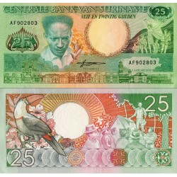 اسکناس 25 گلدن سورینام 1988 تک بانکی