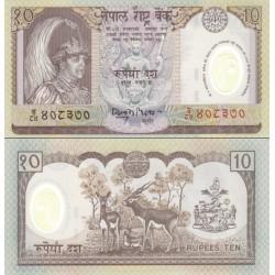 اسکناس پلیمر 10 روپیه - یادبود جلوس پادشاه گیانندرا بر تخت سلطنت - نپال 2002