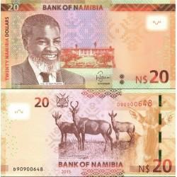 اسکناس 20 دلار - نامیبیا 2015 بدون الماس وسط روی اسکناس