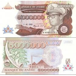 اسکناس 5000000 زئیر - زئیر 1992