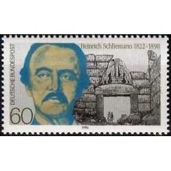 1 عدد تمبر دهمین سال درگذشت هاینریش شیلی مان - باستان شناس - جمهوری فدرال آلمان 1990