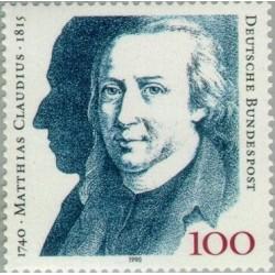 1 عدد تمبر 250مین سال تولد ماتیاس کلودیس - شاعر و نویسنده - جمهوری فدرال آلمان 1990