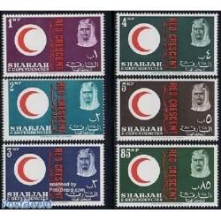 6 عدد تمبر صدمین سال صلیب سرخ بین المللی  - شارجه 1963