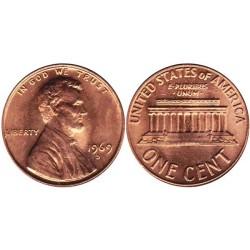 سکه 1 سنت - برنجی - آمریکا 1969غیر بانکی
