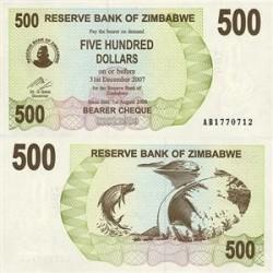 اسکناس 500 دلاری زیمباوه 2006 تک