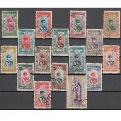 تمبرهای سری تاجگذاری رضا شاه پهلوی سال 1308 مهرخورده