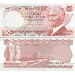 اسکناس 20 لیر - ترکیه 1974 تک