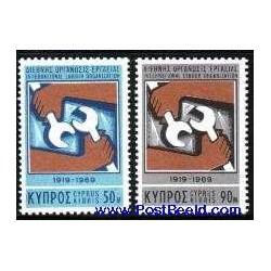 2 عدد تمبر 50 امین سالگرد سازمان جهانی کارگران - قبرس 1969