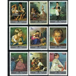 9 عدد تمبر تابلو نقاشی - یونیسف - شارجه 1970