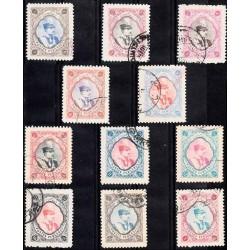 642 - تمبرهای سری رضا شاه پهلوی سال 1310 الی 1311 مهرخورده