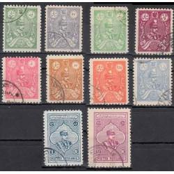 562 - اولین سری تمبرها با تصویر رضا شاه - 1305-7 مهرخورده