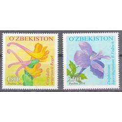 2 عدد تمبر گلها - ازبکستان 2014