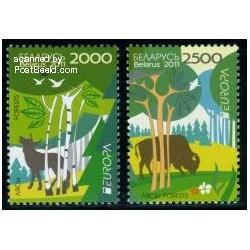 2 عدد تمبر مشترک اروپا ، جنگلها - Europa Cept - بلاروس 2011