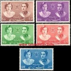 780 - 5 عدد تمبر عروسی محمدرضا پهلوی و فوزیه  1318