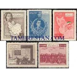 871 - 5 عدد تمبر سالگرد نجات آذربایجان 1329