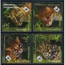 4 عدد تمبر گربه سانان - WWF - تایلند 2011
