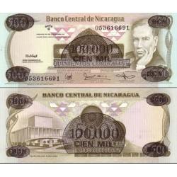 اسکناس سورشارژ 100000 کردوباس - نیکاراگوئه 1987