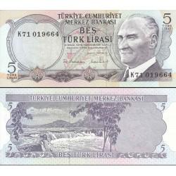 اسکناس 5 لیر - ترکیه 1976