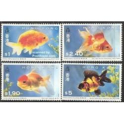 4 عدد تمبر گلدفیش ها - هنگ کنگ 1993