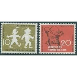 2 عدد تمبر ویلهلم بوش - شاعر - جمهوری فدرال آلمان 1958