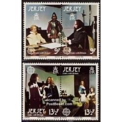 4 عدد تمبر مشترک اروپا - Europa Cept - جرسی 1980