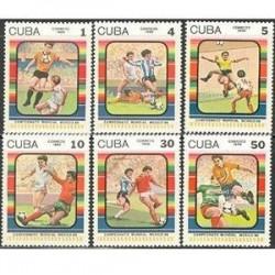 6 عدد تمبر جام جهانی فوتبال مکزیکو - کوبا 1986