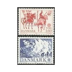 2 عدد تمبر مشترک اروپا - Europa Cept - فورکلور - دانمارک 1981