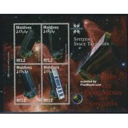 مینی شیت پنجاهمین سالگرد اکنشافات فضائی و ماهواره - تلسکوپ فضائی اسپایتزر - مالدیو 2008