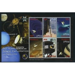 مینی شیت پنجاهمین سالگرد اکنشافات فضائی و ماهواره - سفینه ویجر 2 - مالدیو 2008