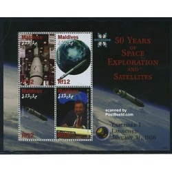 مینی شیت پنجاهمین سالگرد اکنشافات فضائی و ماهواره - سفینه اکسپلورر 1 - مالدیو 2008