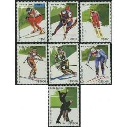 7 عدد تمبر المپیک زمستانی - آلبرت ویل - نیکاراگوئه 1989