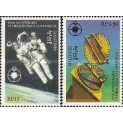 2 عدد تمبر چهارصد و پنجاهمین سالگرد مرگ کوپرنیک - فضانورد - مالدیو 1993