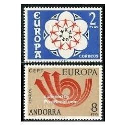 2 عدد تمبر مشترک اروپا - Europa Cept  - اسپانیا آندورا 1973